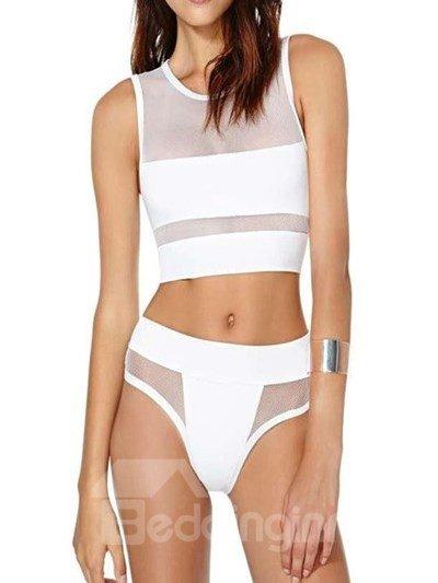 Cozy 2 Pieces Pure White Body-Con Bikini