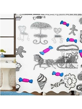 Faddish 3D EVA Candy Print Thicken Shower Curtain