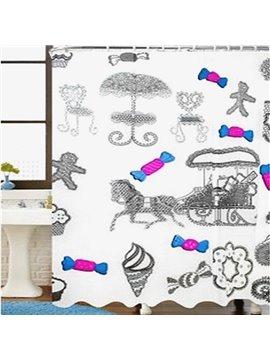 Faddish 3D EVA Candy Print Thicken Shower Curtain