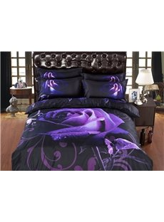 Purple Rose with Dew Print 6-Piece Duvet Cover Sets
