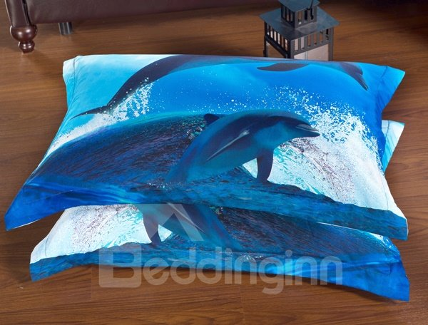 Dolphin and Blue Sea Print 6-Piece Duvet Cover Sets