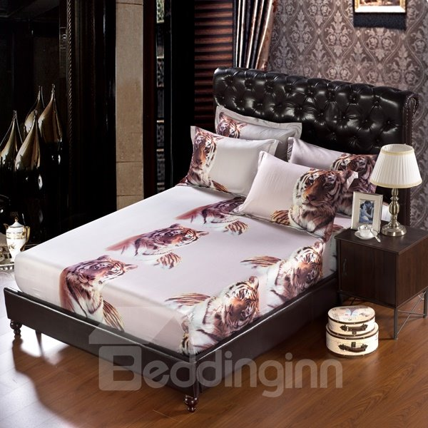 Handsome Tiger Print 6-Piece Cotton Duvet Cover Sets