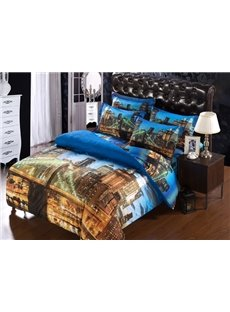 London Bridge in Night Lights Print 6-Piece Duvet Cover Sets