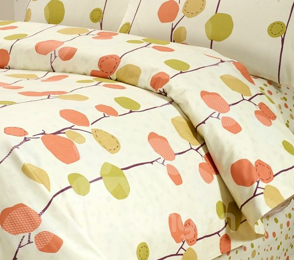 Leaves Print 4-Piece Cotton Kids Duvet Cover Sets