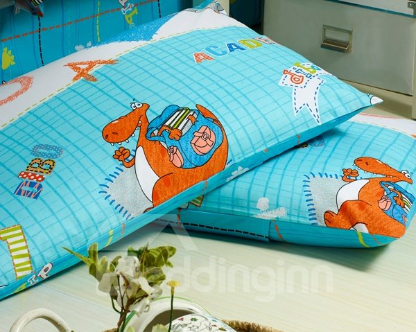 Funny  Dinosaur Print 4-Piece Kids Duvet Cover Sets