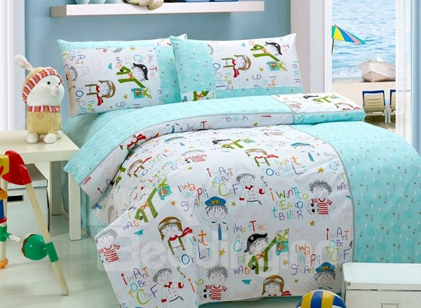 Cartoon Character Print 4-Piece Kids Duvet Cover Sets