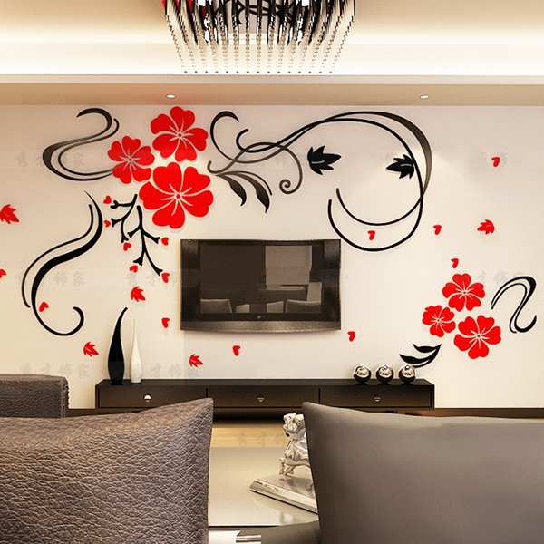 Gorgeous floral and butterfly pattern living room 3d wall for Stickers para pared decorativos
