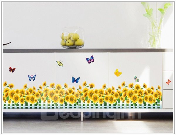 Lovely Sunflowers Fences and Butterflies Print Wall Stickers Wall Decal