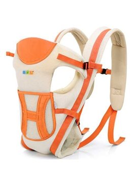 Orange Summer Breathable Mesh Fabric with Front Pocket Baby Carrier