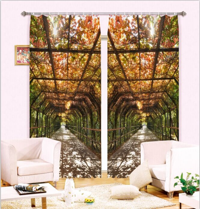 Sunlight Through the Vine Two Piece 3D Curtain