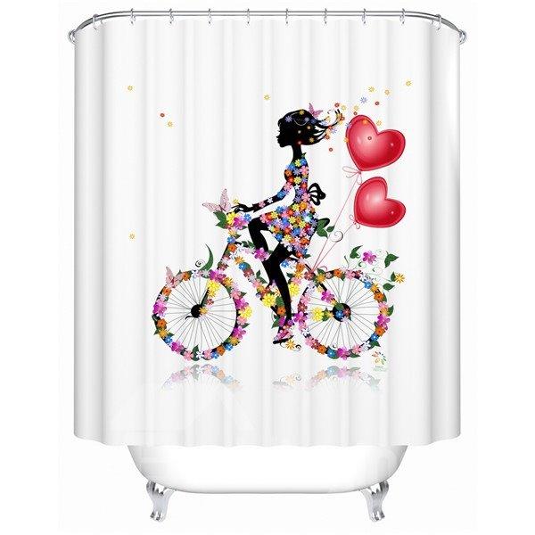 Fancy Beautiful Riding Bike Girl Shower Curtain