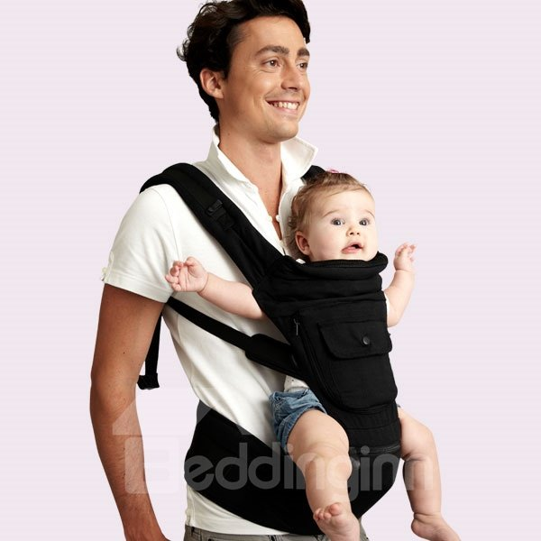 Comfortable Five Carrying Positions Black Cotton Baby Carrier