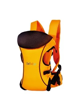 Three Carry Positions Orange Baby Carrier with Removable Hood