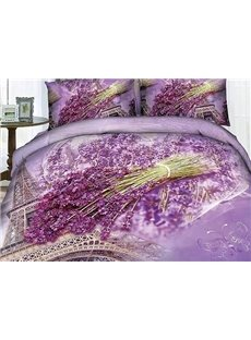 Fragrant Lavender and Eiffel Tower Print 4-Piece Cotton Duvet Cover Sets