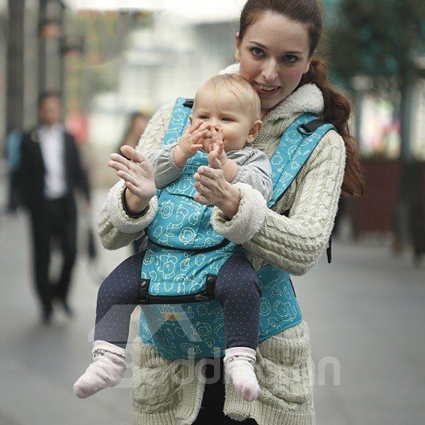 Comfortable Blue Cottton Four-Position Detachable Baby Carrier