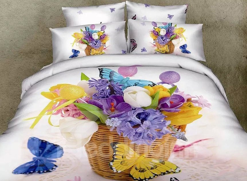 Flower Basket and Butterflies Print 4-Piece Cotton Duvet Cover Sets