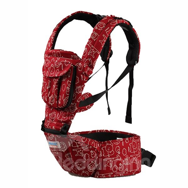 Comfortable Red Cottton Four-Position Detachable Baby Carrier