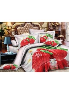 Alluring Strawberry Print 4-Piece Polyester Duvet Cover Sets