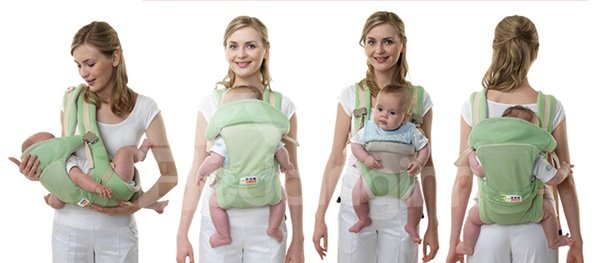 High Quality Useful Comfortable Four Positions Orange Baby Carrier
