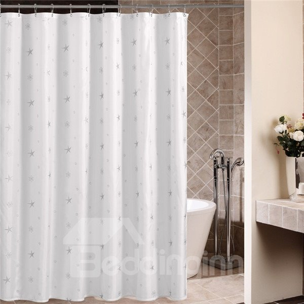 Elegant Concise Silver Star Waterproof Shower Curtain
