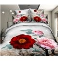 Gorgeous Peony Print 4-Piece Polyester Duvet Cover Sets
