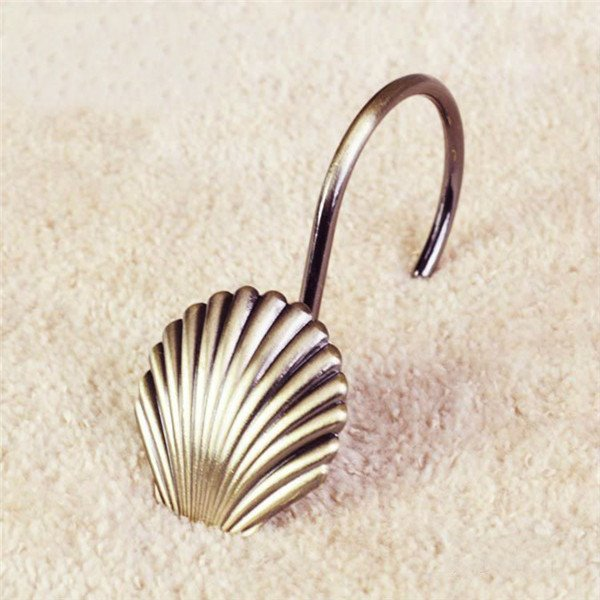 Creative Seashell Image 12-Piece Shower Curtain Hooks