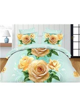 Cream Rose Print 4-Piece Polyester Duvet Covet Sets