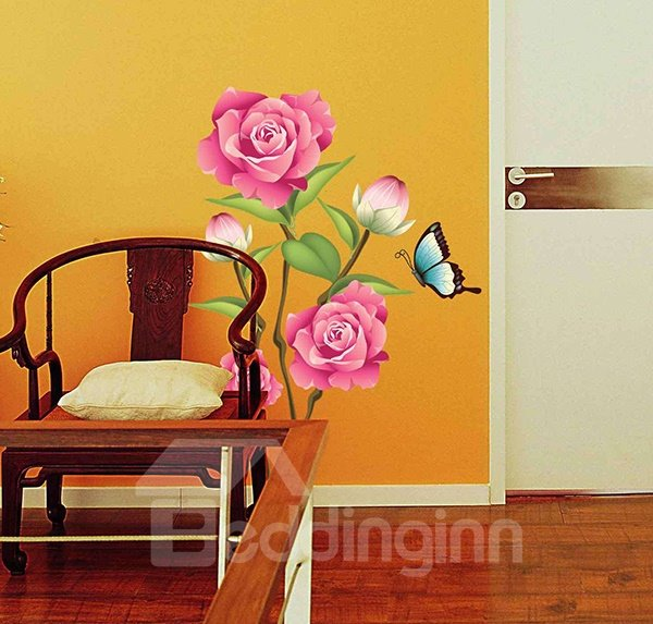 Gorgeous Peony and Butterfly Wall Sticker