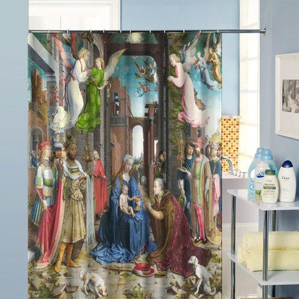 The Nativity of Jesus Paintings Dacron Fabric Shower Curtain