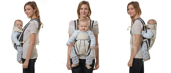 Simple Style Brown Color Front and Back Baby Carrier