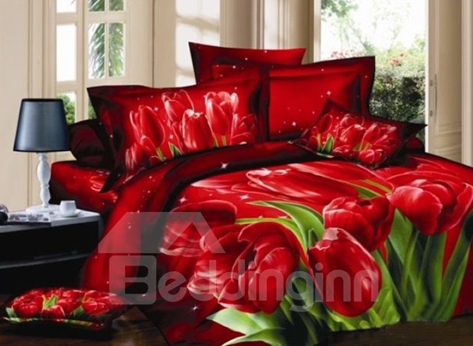 Luxury Elegant 3D Red Tulips Print Fitted Sheet