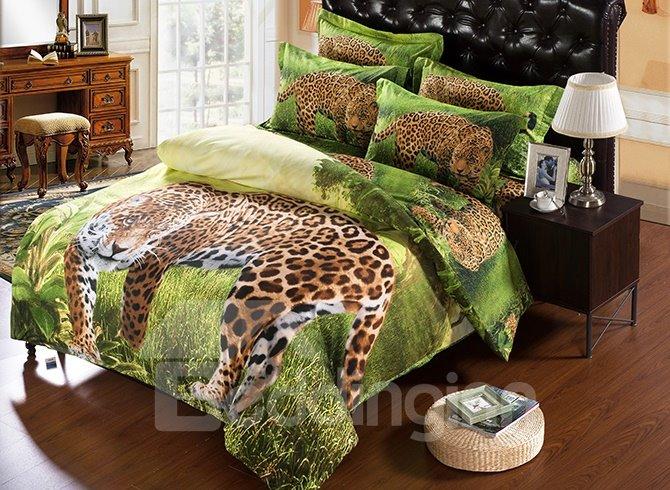 3d Leopard In Wild Print 5 Piece Comforter Sets