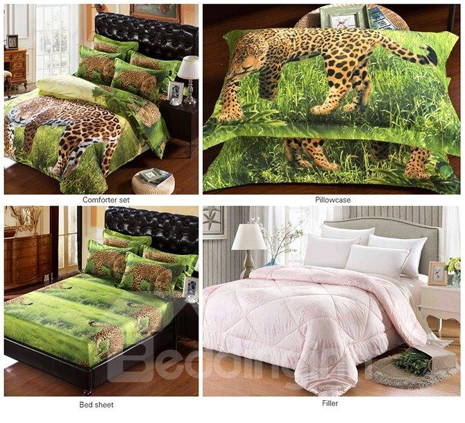 3D Leopard in Wild Print 5-Piece Comforter Sets