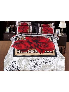 Romantic European Noble Rose Print 5-Piece Comforter Sets
