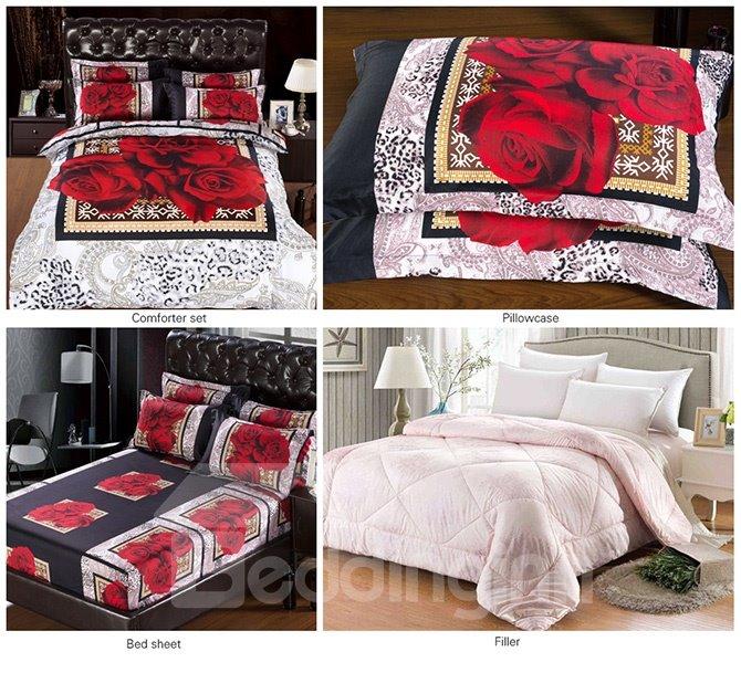 Romantic European Noble Rose Print 5-Piece Comforter Sets
