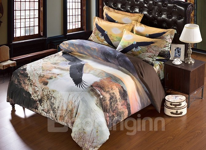 Gorgeous Unique Soaring Eagle 3D Design 5-Piece Comforter Sets