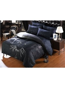 Luxurious Noble Panther Print 5-Piece Black Comforter Sets