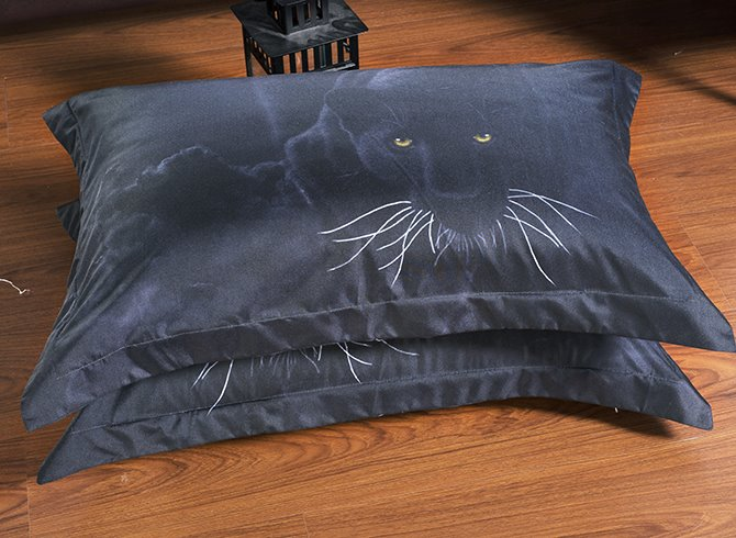 Luxurious Noble Panther Print 5-Piece Black Comforter Sets