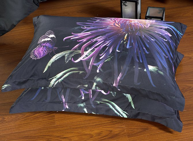 Elegant Noble Purple Chrysanthemum Butterfly Print 5-Piece Comforter Sets