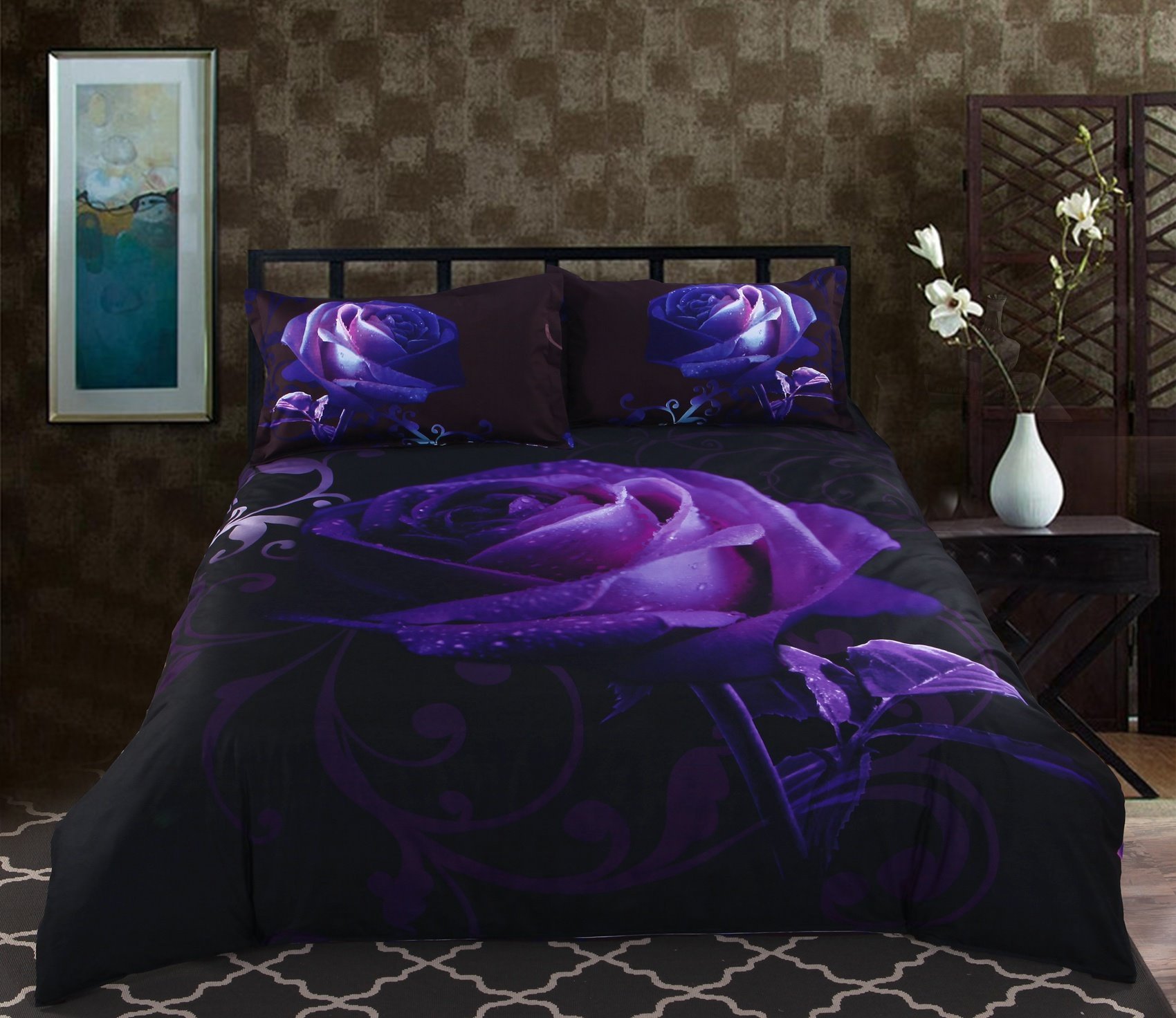 Mysterious Noble Purple Rose 5-Piece Black Comforter Sets ...