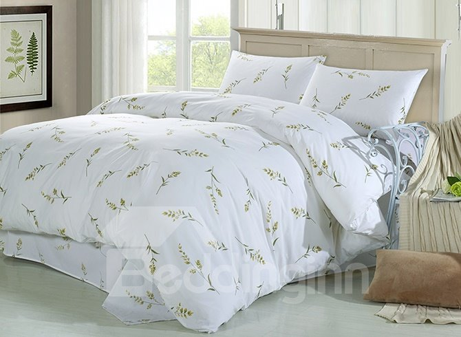 Fresh Graceful Green Twig Print 4-Piece Cotton Duvet Cover Sets