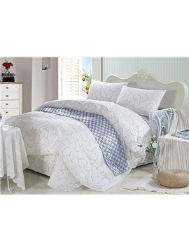 Noble Concise Style 4-Piece White Cotton Duvet Cover Sets