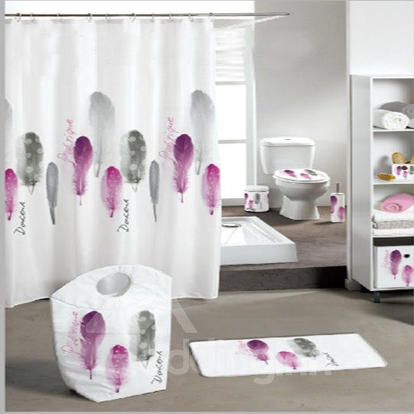 Unique Elegant  Feather Extra Long Shower Curtain