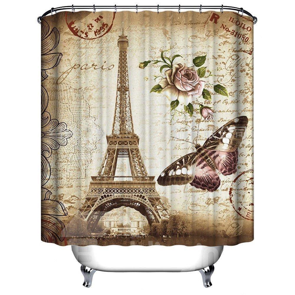 Retro Romatic Eiffel Tower 3D Printing Bathroom Shower Curtain