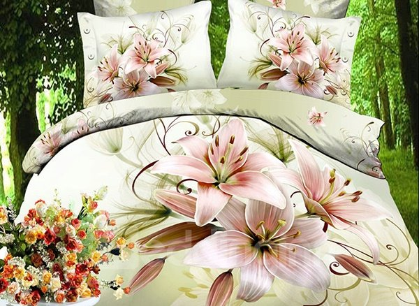 Pretty Flower Fairy 4 Piece Polyester Fitted Sheet