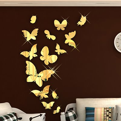 Gorgeous mirror effect butterfly wall sticker for Stickers 3d pared