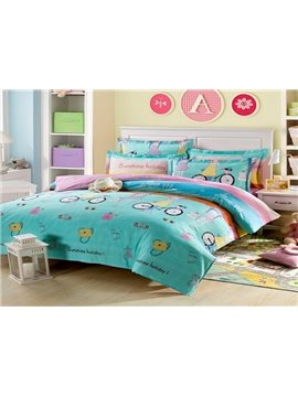 Fashion Pink Girl Printed 4 Piece Bedding Sets