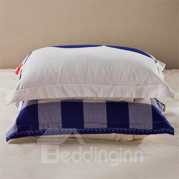 Elegant Blue and White Checkered Bedding Sets