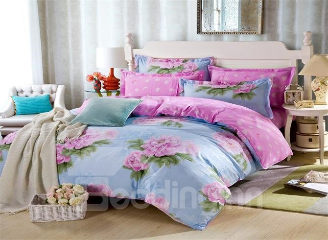 Beautiful Pink Floral Print 4-Piece Cotton Bedding Sets