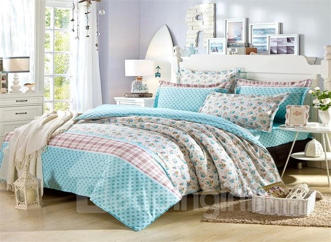 100% Cotton Beautiful Blue Flower Print 4-Piece Bedding Sets